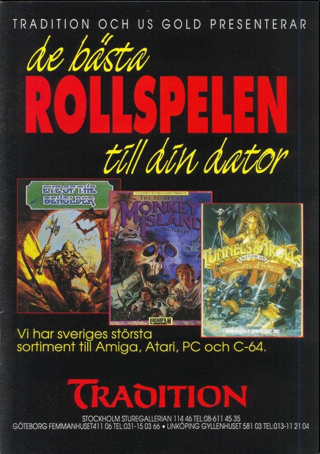 Annons för datorrollspel på Traditiojn. Eye of the beholder. Monkey Island. Tunnels & Trolls