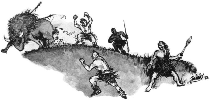 """Illustration: Jakob (efternamn okänt) till artikeln """"Alegar – grottmänniskorna""""."""
